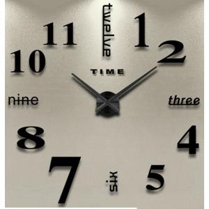 3D Nalepovacie hodiny DIY Clock Twelve Time, čierne 90-130cm