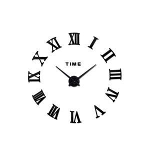 3D Nalepovacie hodiny DIY Clock Roma C2, čierne 90-130cm