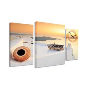 3-dielný obraz s hodinami, Sunset, 95x60cm