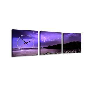 3-dielny obraz s hodinami, Búrka, 35x105cm