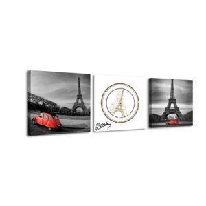 3-dielny obraz s hodinami, Eiffelova veža, 35x105cm