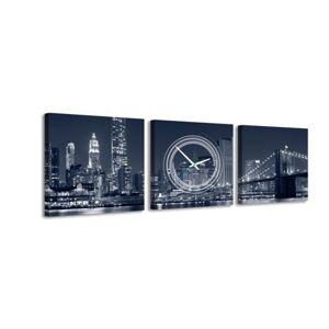 3-dielny obraz s hodinami, Manhattan , 35x105cm