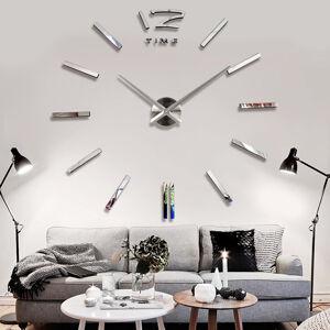 3D Nalepovacie hodiny DIY Clock BIG Time L, Silver 80-130cm