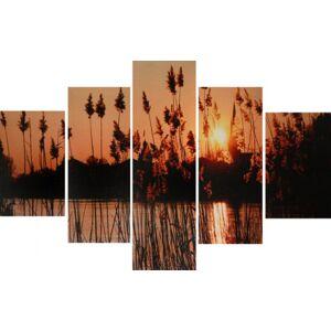5-dielny obraz na plátne 60x90cm SRDCIA ružovo-šedé (PRCS7)