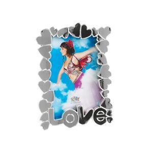 Fotorámik Srdce plast chróm, 10x15cm
