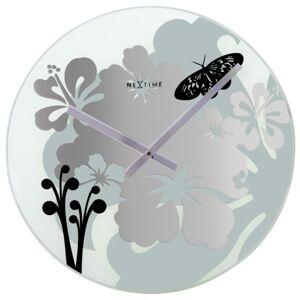 Nástenné hodiny Hibiscus Black Nextime 43cm