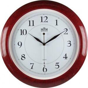Nástenné hodiny MPM, 2413.5500.SW - gaštan/biela, 35cm