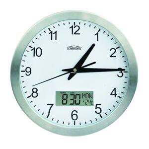 Nástenné hodiny s teplomerom a dátumom, Chrono, 25 cm