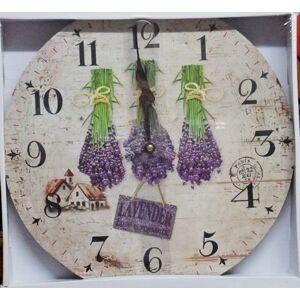 Nástenné hodiny drevené, Vintage, ar22r, Lavender, 34cm