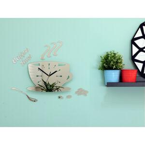 Nástenné hodiny DIY, Coffee Time Mirror, 64x43cm
