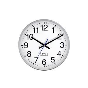 Nástenné hodiny Lavvu LCR 2010 FACTORY Metallic Silver riadené rádiovým signálom, 30cm