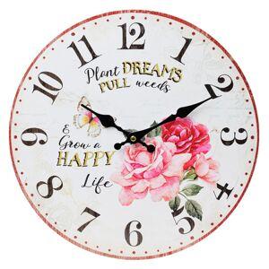 Nástenné hodiny Flor0116, Ruže, 34cm
