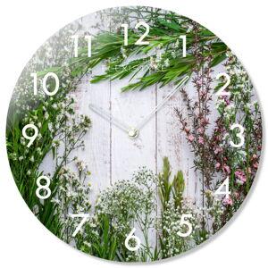 Sklenené nástenné hodiny Herbs Flex z67f s-2-x, 30 cm
