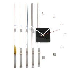 Zrkadlové nástenné hodiny štvorce Flex z10b, 58 cm, strieborné