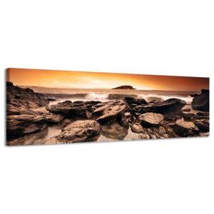 Obraz na plátne Panoráma, Rocky Coast, 36x118cm